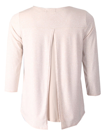 3/4 Sleeve Glitter Top - Beige
