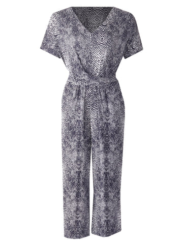 V Neck Jumpsuit - Navy Multi