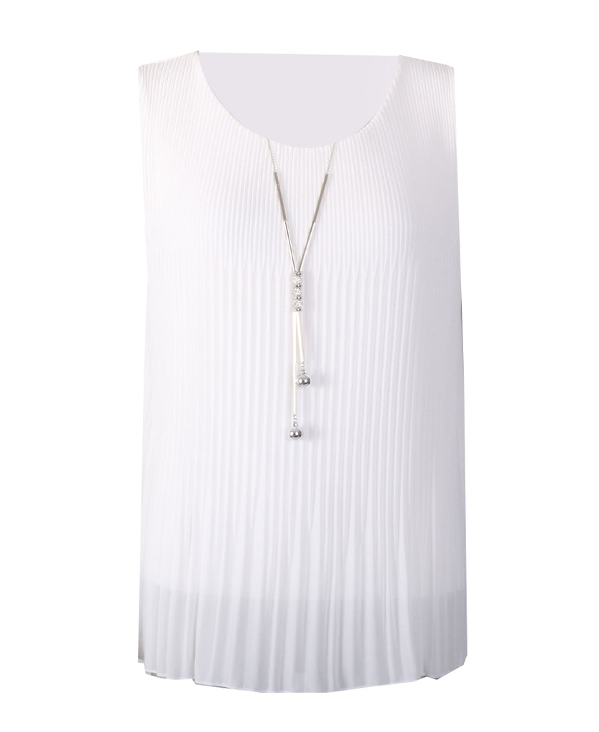 Sleeveless Ribbed Top - White