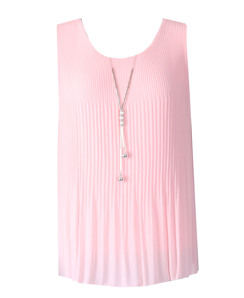 Sleeveless Ribbed Top - Pink