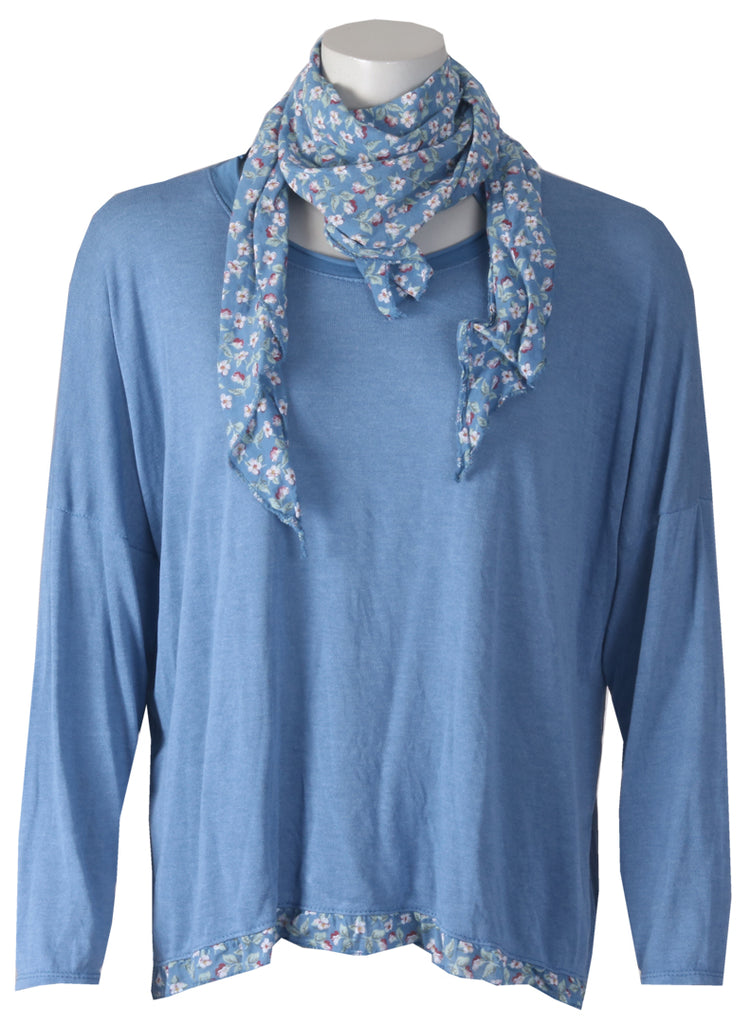 Floral Scarf Top - Denim
