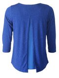 3/4 Sleeve Glitter Top - Royal