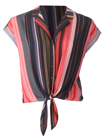 Striped Tie Blouse - Coral Multi