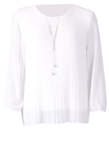 Pleated Long Sleeve Top - Ivory