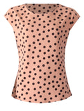 Round Neck Spot Top - Beige/Black