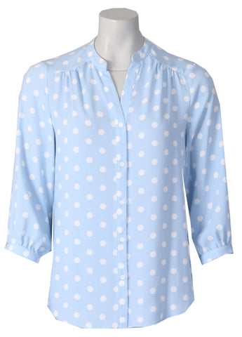 3/4 Sleeve Blouse -Blue/Ivory
