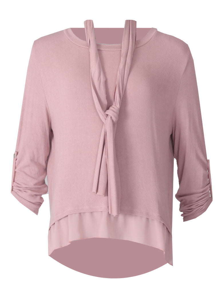 3 Button Back Top - Dusty Pink