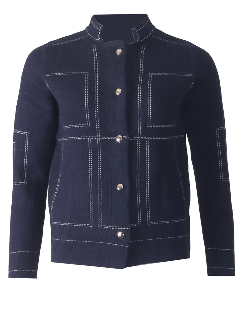 Cardigan - Navy/White