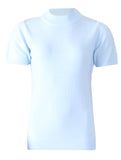 Turtle Neck Short Sleeve Knit - Ice Blue