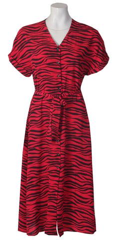 Button Thru Dress - Red