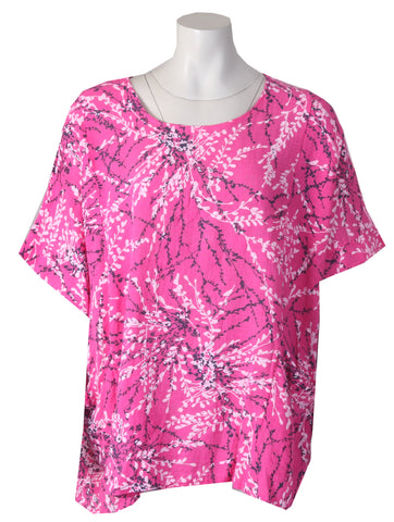 Blossom Print Top - Bright Pink