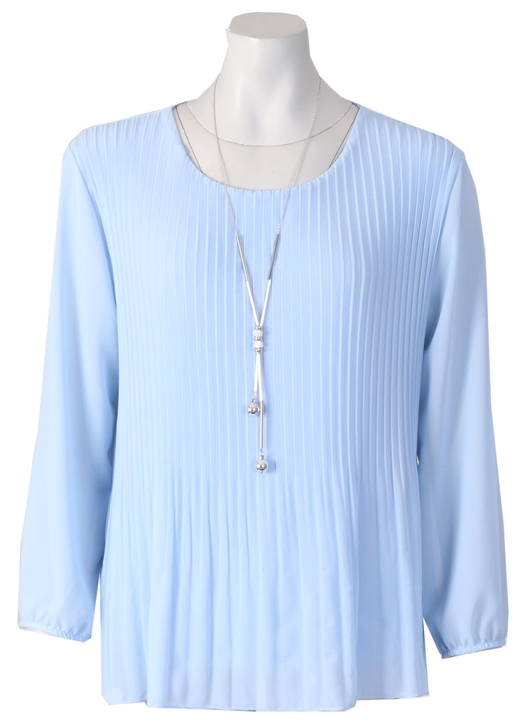 Long Slv Pleated Blouse - Blue