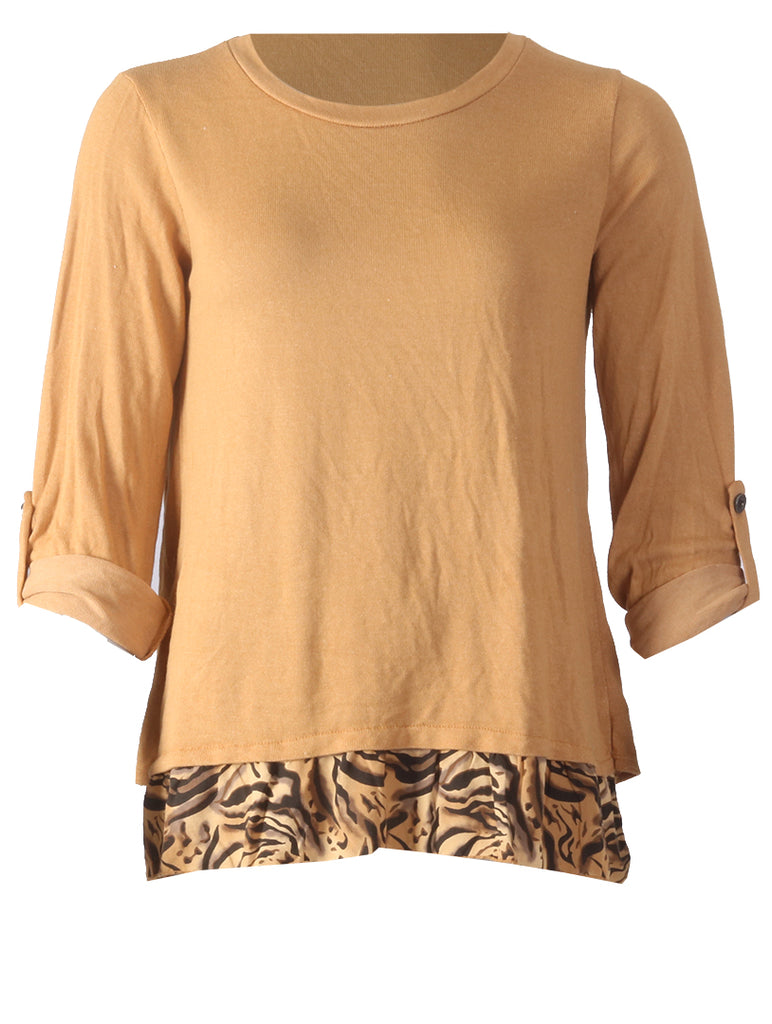 Split Back Top - Mustard