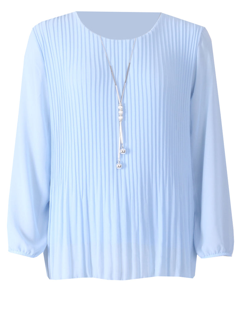 Pleated Long Sleeve Top - Blue