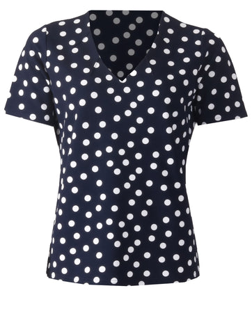V Neck Spot Top - Navy/Ivory