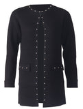 Cardigan with Studs - Black/Silver
