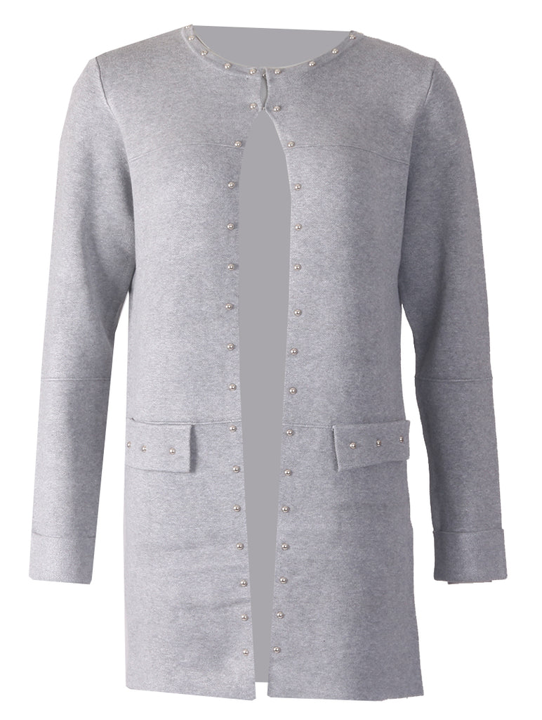 Cardigan with Studs -  Grey/Silver