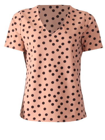 V Neck Spot Top - Beige/Black