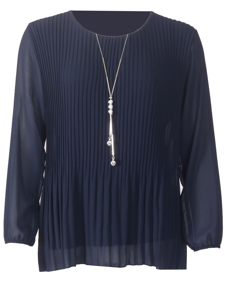 Pleated Long Sleeve Top - Navy