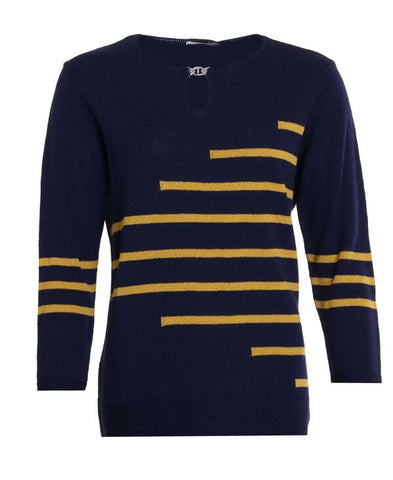 Stripe Buckle Jumper - Navy/Mustard