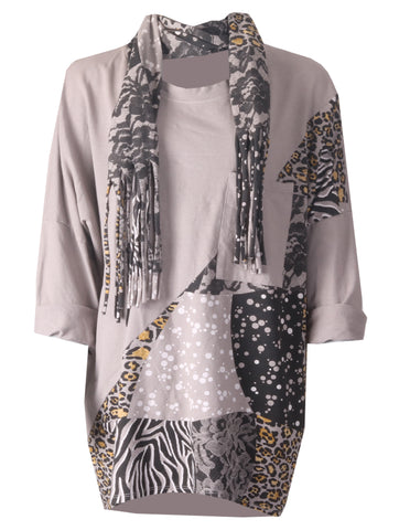 Leopard Scarf Top - Light Grey