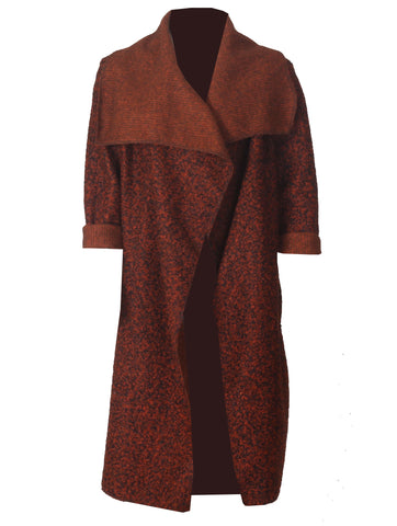 Boucle Coat - Burnt Orange