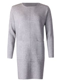 Plain Knit Dress - Grey