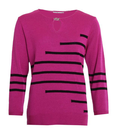Stripe Buckle Jumper - Cerise/Black
