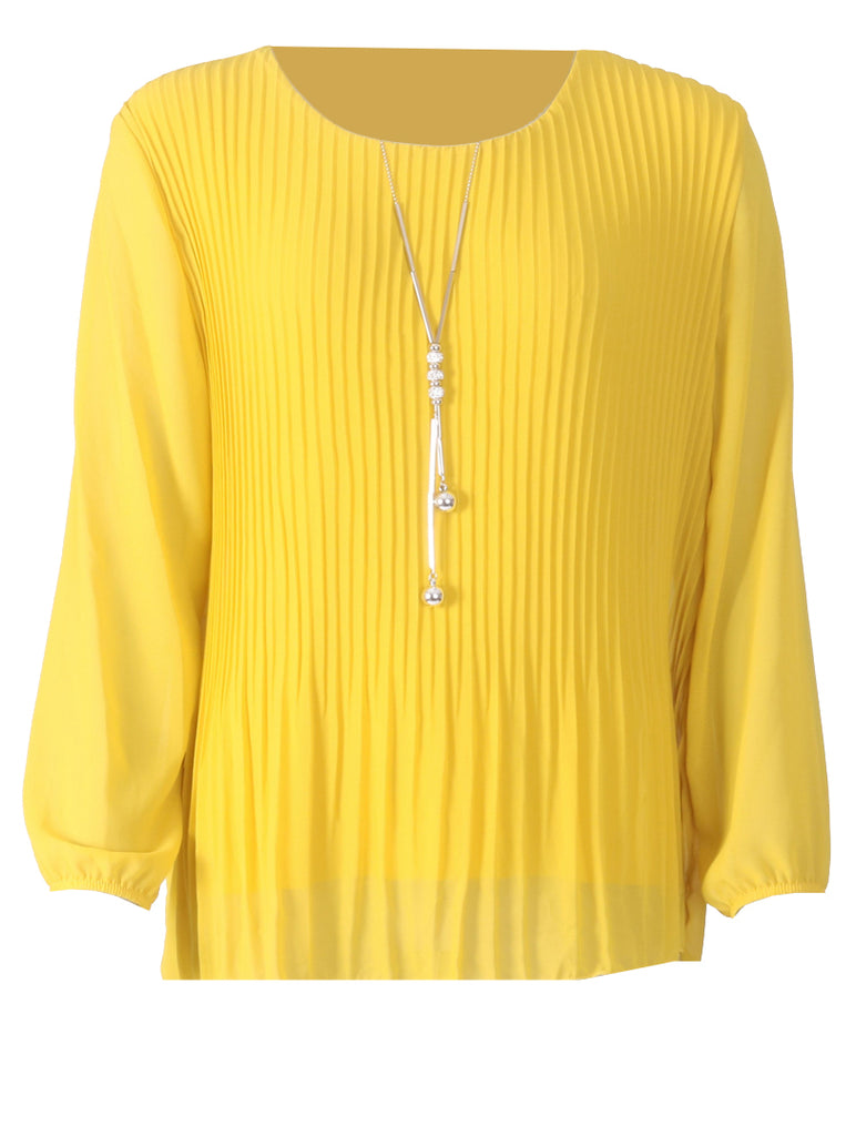 Pleated Long Sleeve Top - Mustard