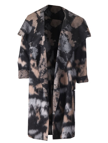 Tie Dye Wool Coat - Black