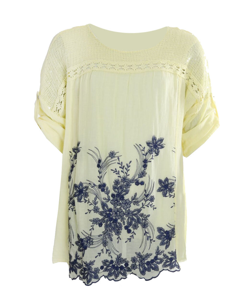 Embroided Top - Lemon
