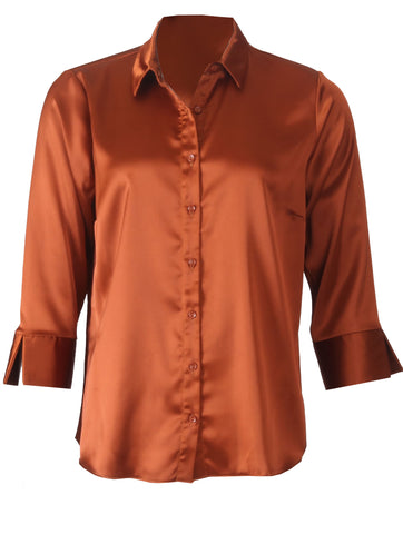 Luxury Satin Blouse - Rust