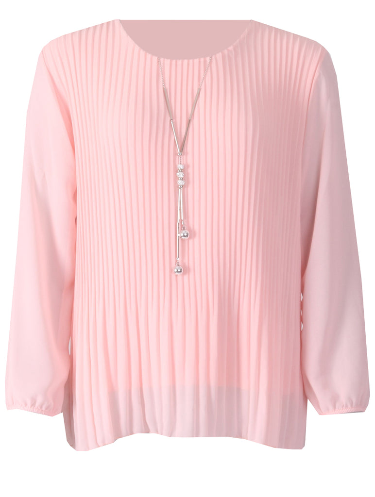 Pleated Long Sleeve Top - Pink