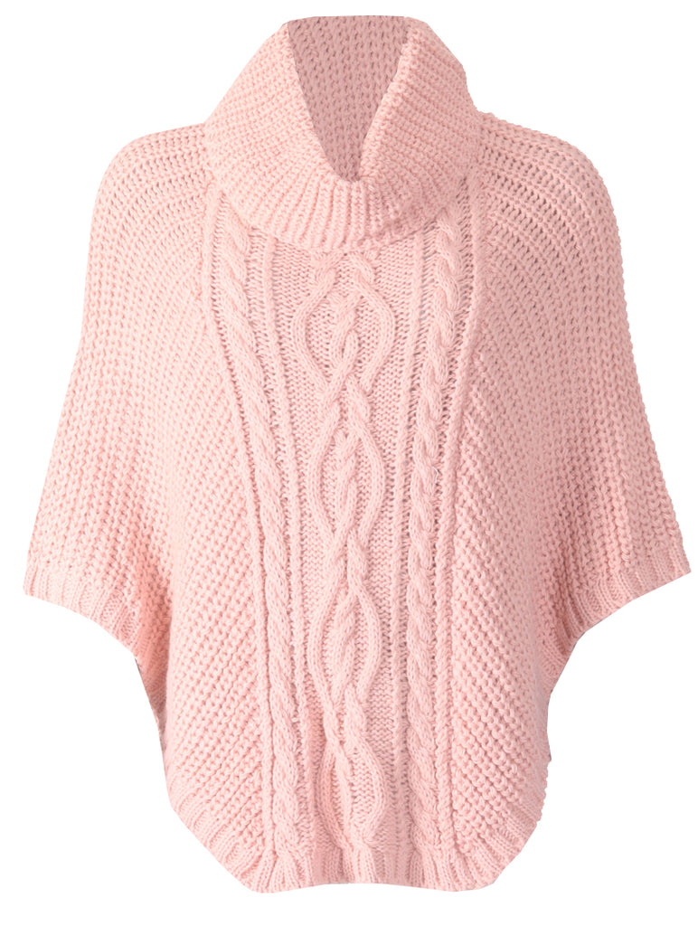 Cowl Neck Poncho - Pink