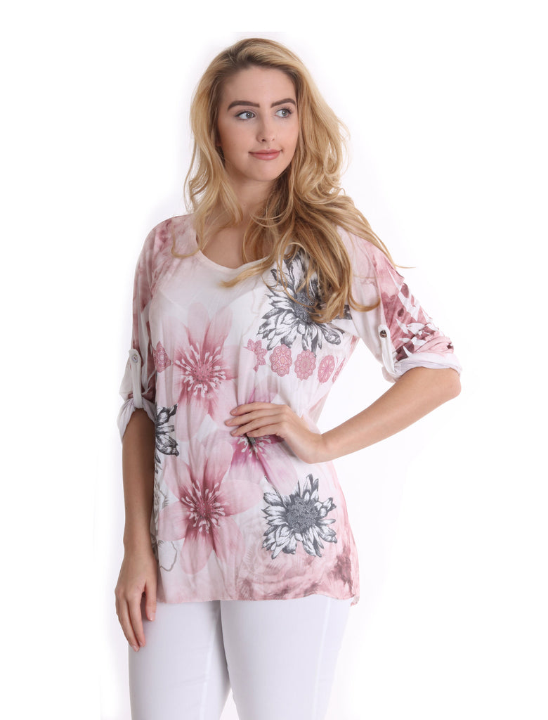 Flower Printed Tunic - Pink