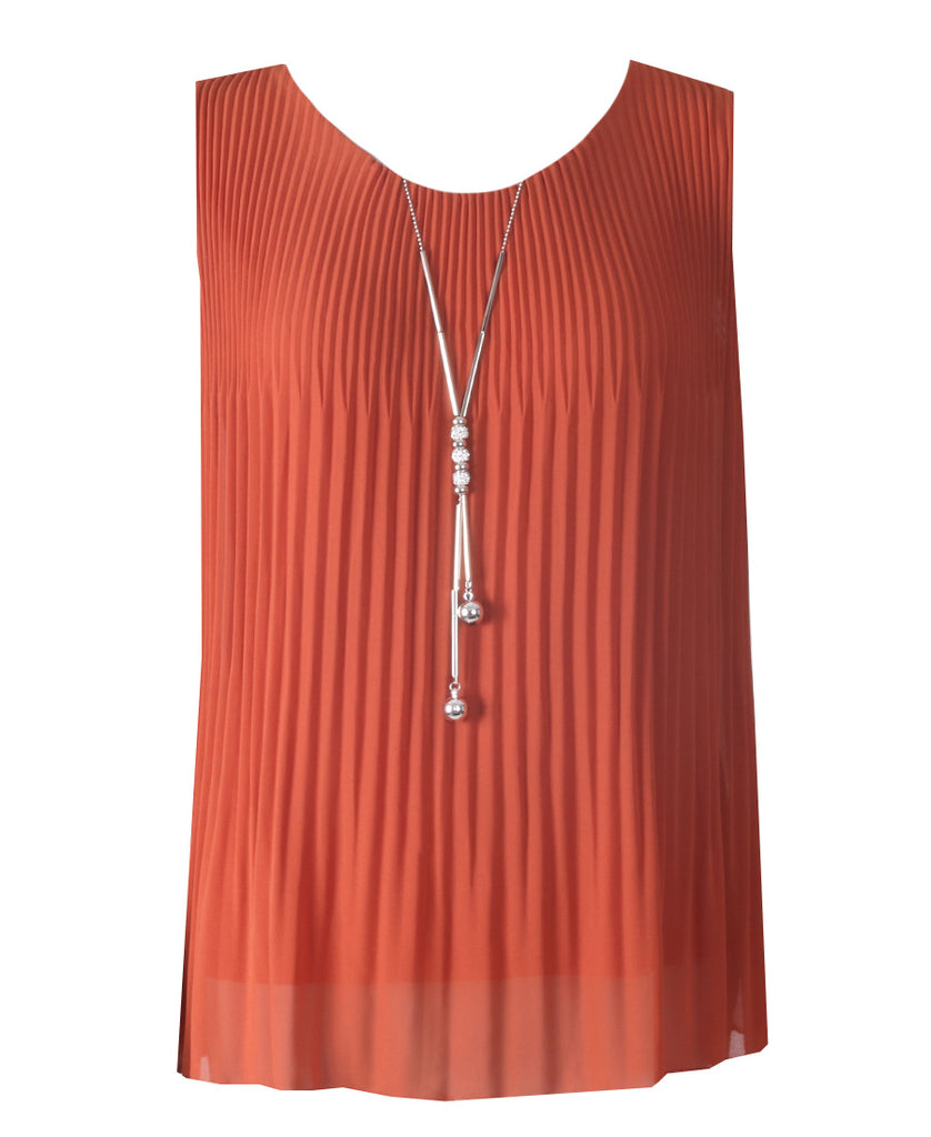 Sleeveless Ribbed Top - Rust