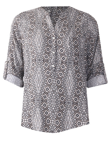 Turn Back Cuff Blouse - Grey/Black