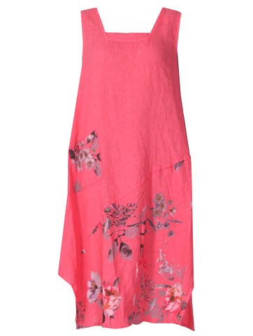 Sleeveless Floral Dress - Coral