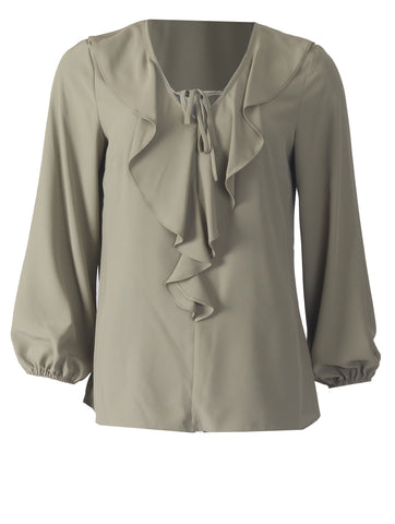 Frill Blouse - Light Khaki