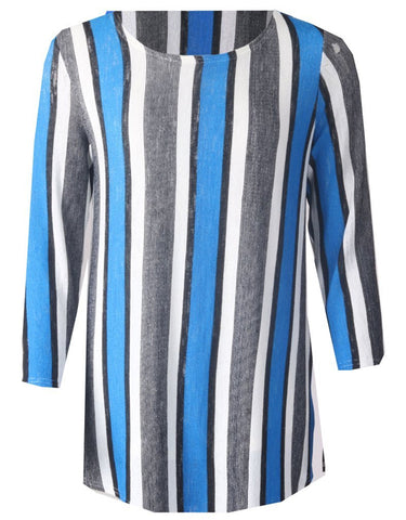 3/4 Sleeve Stripe Top - Blue