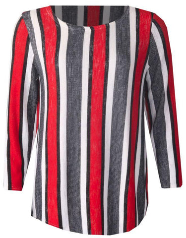 3/4 Sleeve Stripe Top - Red