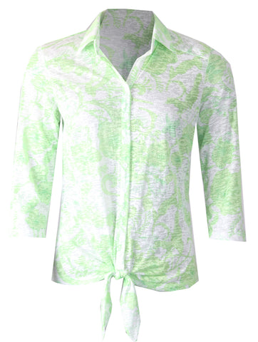 3/4 Sleeve Tie Blouse - Green