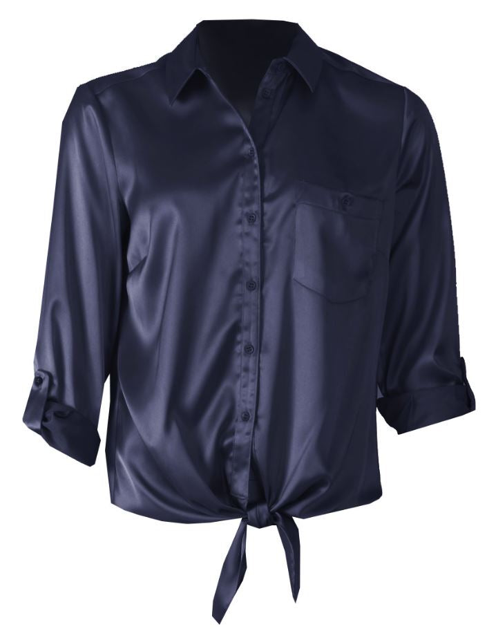 Turn Back Cuff Blouse - Navy