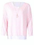 Stripe Top with Necklace - Pink/White