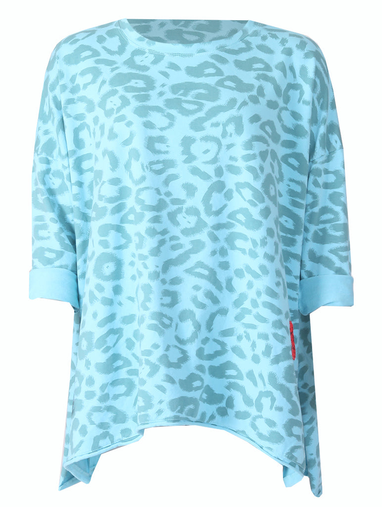 Leopard Angle Top - Turquoise