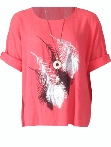Feather Top with Necklace - Coral
