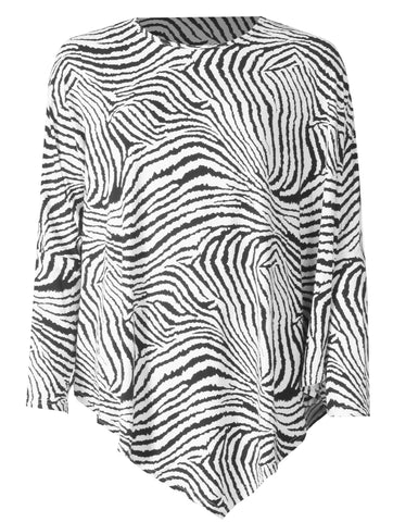 Round Neck Zebra Top - Cream/Black
