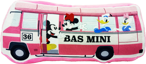 Disney Mickey Go Local Cushion - Mini Bus - Pink Color