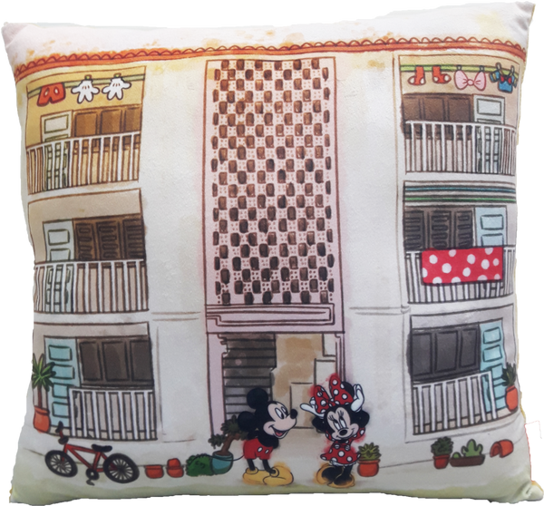 Square Cushion Disney Go Local X Disney Mickey Minnie  - Local Iconic Old Flat