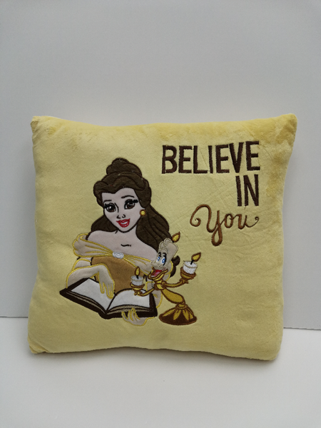 Disney Princess Square Cushion - Beauty and The Beast - Belle Princess